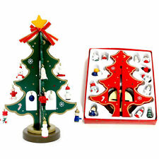 Mini Tree+16pc Cute Hanging Ornaments Xmas Decoration Wooden Exquisite Christmas