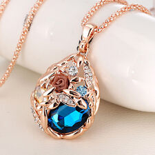 Women Rose Flower Waterdrop Pendant Long Sweater Chain Rhinestone Necklace Exqui