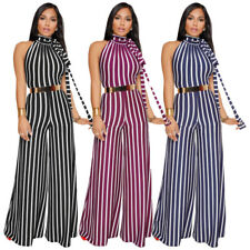 Women Sexy Striped Lace Up Backless Halter Sleeveless Wide Leg Loose Jumpsuit