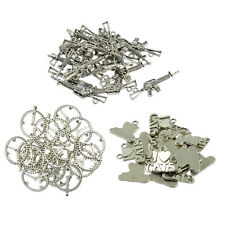 20 Pcs Alloy Antique Silver Necklace Pendant Charms Base DIY Jewelry Crafts