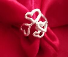 NEW UNUSUAL LINKING HEARTS HALLMARKED STERLING SILVER RING,3.5 GRAMS, SIZE N