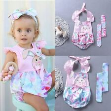 Baby Girl Backless Halter Romper Bodysuit Jumpsuit Clothes Sunsuit+Headband Set