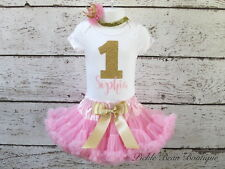 Girl 9 12 18 24 mo Personalized Pink Gold Glitter First 1st Birthday Tutu Outfit