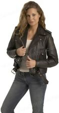 Ladies Full Cut Premium Naked Cowhide Leather Motorcycle Jacket - Black