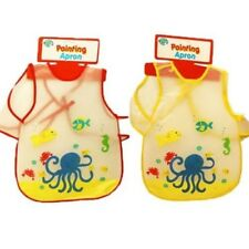 Childrens Undersea Painting Bib Apron Wipe Clean Baby Boy Girl Red Yellow