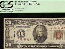 1934 $20 DOLLAR WWII WW2 HAWAII BROWN SEAL MULE NOTE CURRENCY PAPER MONEY PCGS