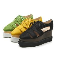 Women Casual Lace Up Creeper Oxford Hollow Wedge Mid Heels Platform Shoes Size 8