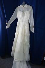 1940's Wedding Gown- Small- Off-White Voile- Very Long Train- VG- ELEGANT - SALE