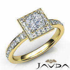 Princess Cut Diamond Engagement Halo Pave Ring GIA G VS2 18k Yellow Gold 1.18Ct
