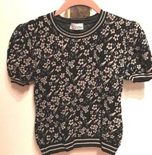 RED VALENTINO WOMENS BLACK WITH WHITE FLOWER Knit Top S