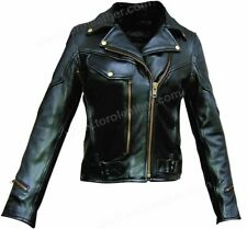 Ladies Premium Naked Leather Cowhide Motorcycle Jacket with Brass Hardware