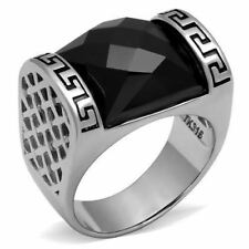 3016 GREEK KEY BLACK ONYX 316L STAINLESS STEEL HIGH POLISHED RING MENS SIGNET