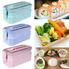 Wheat Straw Bento Lunch Box Picnic Microwave Meal Storage Food Containe Hot