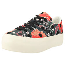 Converse One Star Platform Ox Womens Black Multicolour Canvas Trainers