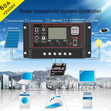 60A PWM 12V/24V Dual USB Solar Panel Controller Charger Auto Regulator