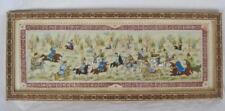 OLD Persian Polo Hand Painting on Bone Khatam Wood Frame Inlay Marquetry 18x7