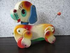 Vtg Wooden Puppy Dog PULL TOY ~ Made in JAPAN~ Early FISHER PRICE ???