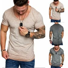 Men's Slim Fit O Neck Short Sleeve Muscle Tee T-shirt Casual Tops Solid Shirts