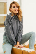 Fashion  Autumn Women's Beaded Sweater Puff Sleeve Knitted Pullover Tops