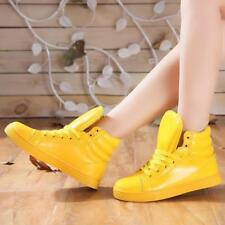 Womens Patent Leather Lace Up Shiny Sneakers Flat Heels Running Shoes Athletic Y