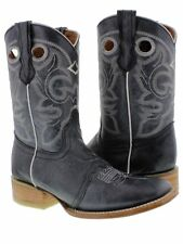 Womens Denim Blue Mid Calf Leather Pull On Cowboy Boots Riding Rodeo Square
