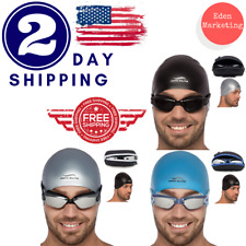 Swim Goggles + Reversible Swimming Cap + Protective Case Exclusive Set. HQ