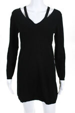 Theory Womens Long Sleeve Sweater Dress Black Slit Detail Size Large