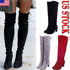 Womens Thigh High Boots Over The Knee Party Stretch Block Mid Cupped Heel Boots