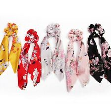 Ponytail Scarf Bow Elastic Floral Stripe Hair Rope Tie Bands Scrunchies Ribbon