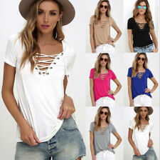 Sexy Fashion Women V-Neck Short Sleeve T-shirt Casual Loose Blouse Tops Tee