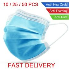 50pcs Disposable Face Guard Dust Mouth 3 Ply Cover Air purifying Maask ,.