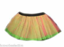 NEON Pink TUTU SKIRT 80's FANCY DRESS Hen Party Fun Run Flo Diamante Flo Green