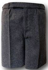 Grey Wool Flannel School Uniform Short Trousers / Shorts BUTTON FLY Adult Sizes
