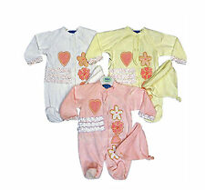 Baby Girl's Soft Velour Suit & Hat Cream Pink or White