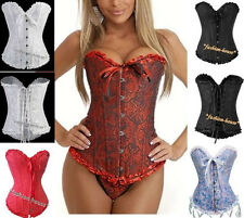 New Sexy Satin Lace Up Corset Bustier + G-String--A819
