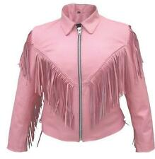 Ladies Pink Leather Western Style Motorcycle Jacket w Fringe, Zipout Liner