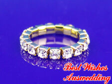 1 Row Stretch Wedding Bridal Crystal Gold / Silver Ring