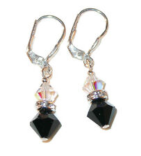 Jet BLACK & CLEAR AB Crystal Earrings Sterling Silver Swarovski Elements