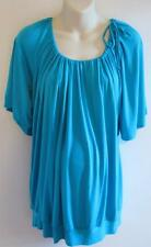 NWT Olian Maternity Ladies Summer Peasant Top Teal Size M L