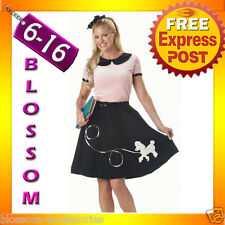 E8 Ladies 1950s Sock Grease Poodle Bopper Dress Costume