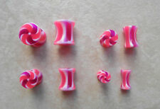 One Pair UV Acrylic Candy Stripe Ear Plugs Tapers 0g-8g