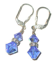 SAPPHIRE BLUE Crystal Earrings Sterling Silver Dangle Swarovski Elements
