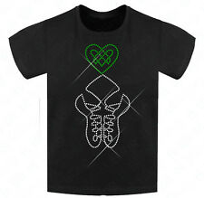 Diamante Girls Irish Dancing Shoes Slim Fit T-shirt 4-12 Yrs Celtic Knot Heart