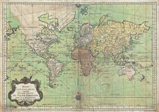 MP7 Vintage Historical 1778 Nautical Chart World Map Poster Re-Print  A1 A2 A3