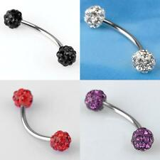 1 Piece 18GA Czech CZ Crystal Barbell Curved Eyebrow Ring Steel 4 colors