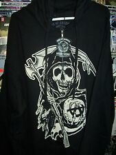 SONS OF ANARCHY REAPER SOA DOUBLE SIDED PRINT ZIP UP HOODIE NEW !