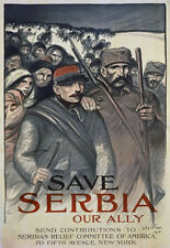 WA83 Vintage WWI Serbia Our Ally Allie War Relief Poster WW1 A1 A2 A3