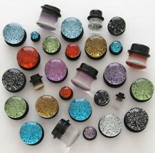 Pair BRILLIANT & UNIQUE Metallic Glitter Single Flare Acrylic Plugs 6g 4g 2g