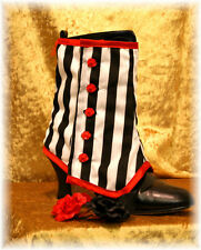 Stripey Spats Granny Boot Covers Goth Steampunk Victorian Burlesque OBSIDIAN NEW