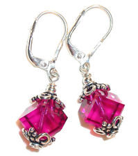 8mm FUCHSIA Pink Cube Crystal Earrings Sterling Silver Dangle Swarovski Elements